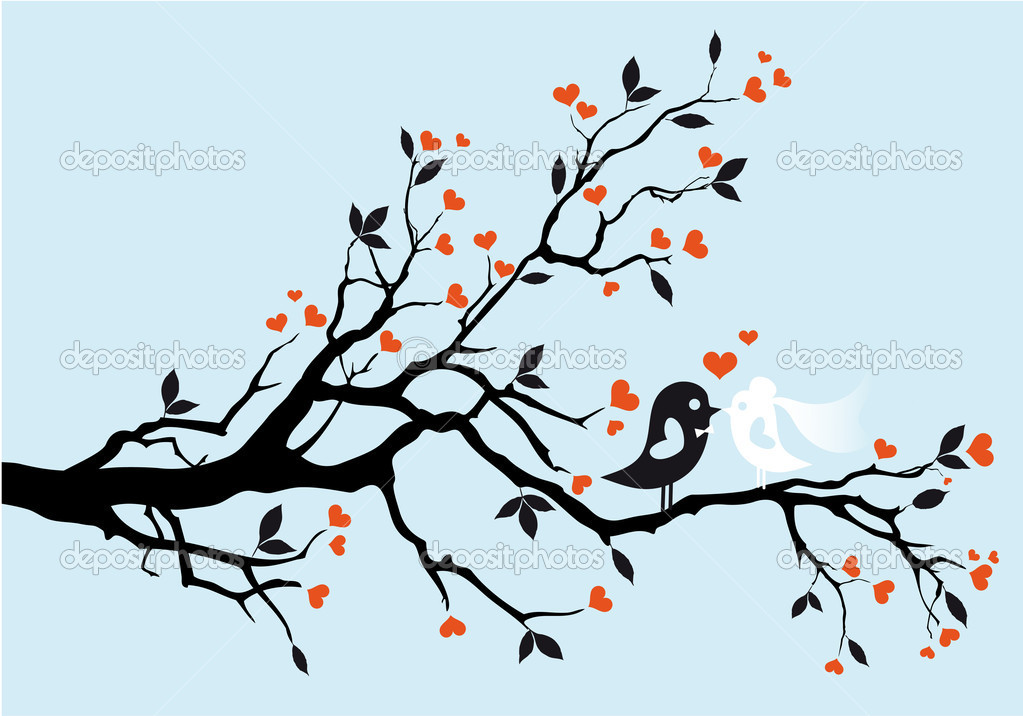 Wedding birds kissing, vector illustration — Imagen vectorial #5482070