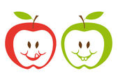 赤と緑のりんご、ベクトル — ストックベクタ