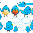 Royalty-Free Stock Imagem Vetorial: Blue bird icons, vector