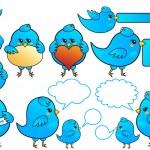 niebieski ptak ikony, wektor — Wektor stockowy