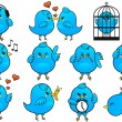 Blue bird icons, vector — Stockvector #5625909