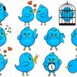 Vector de stock : Blue bird icons, vector