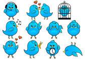 Mavi kuş simgeler, vektör — Stok Vektör