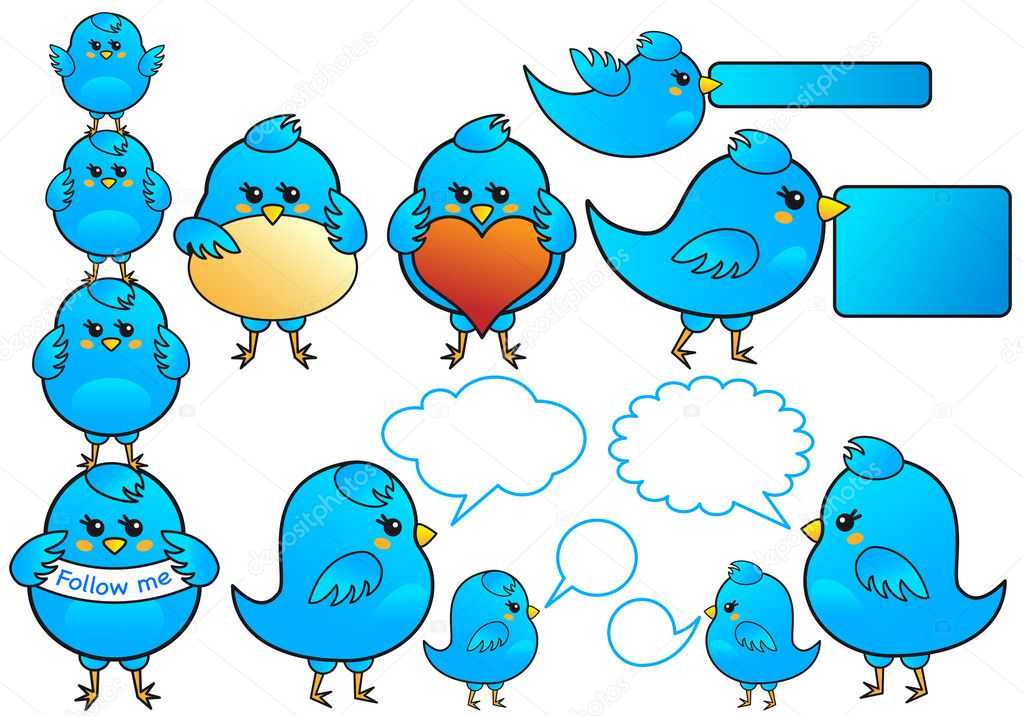 Blue birds icon set, vector  Stock Vector #5625884