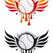 Baseball with fire wings, vector — Stock Vector