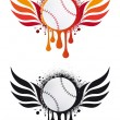 Royalty-Free Stock Vector Image: Baseball with fire wings, vector