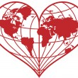 Heart earth globe, vector - Stock Vector