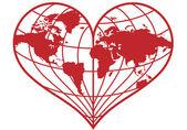 Heart earth globe, vector — Stock Vector