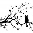Cat on a tree with birds, vector — 图库矢量图片