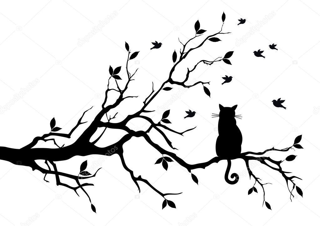 Cat sitting on a tree, watching birds, vector background  Stock Vector #5962440