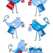 Royalty-Free Stock Imagen vectorial: Shopping birds, vector