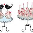 Birthday cupcakes, vector — Stock Vector