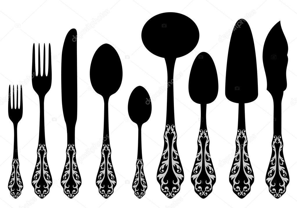 Antique cutlery service, vector set — Stock Vector #6078935