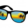 Sunglasses with sea sunset, vector — Stock Vector
