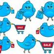 Blue bird shopping, vector — Stockvectorbeeld