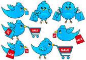 Blue bird shopping, vector — Vecteur