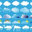 Clouds and weather symbols, vector - Stock Vector