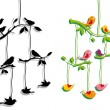 Birds with tree branch, vector — Image vectorielle