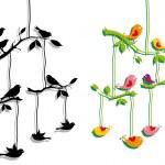 ptáci s větev stromu, vektorové — Stock vektor