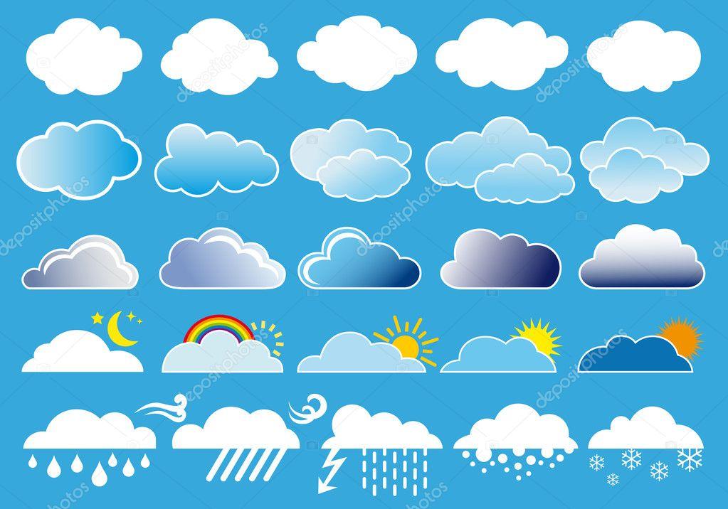 云和天气符号矢量 - 图库插图