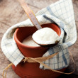 Stock Photo: Yogurt in clay pot