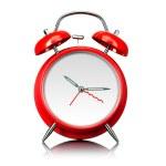rojo viejo estilo despertador listo para ajustar tiempo aislado en blanco — Foto de Stock