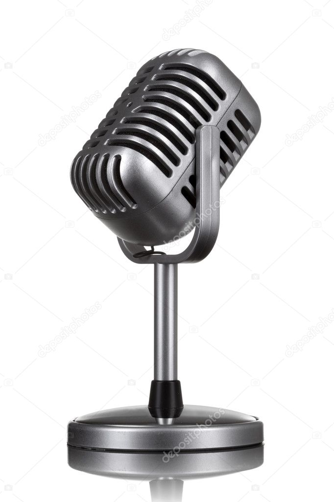 Retro microphone isolated on white — 图库照片 #5574739