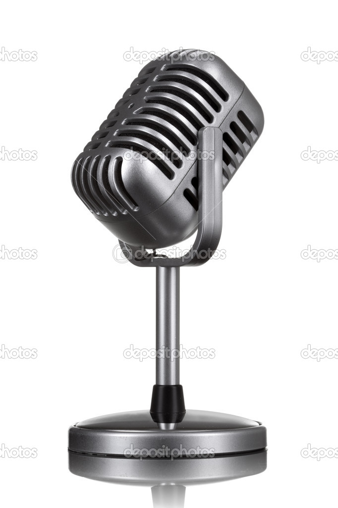 Retro microphone isolated on white  Zdjcie stockowe #5574739