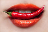 Woman lips and chili pepper — Stock fotografie