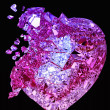 Broken crystal Heart: unrequited love or death — Stock Photo