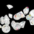 Stock Photo: Diamonds or gemstones isolated on black