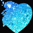 Blue Broken Heart: unrequited love - Stock Photo