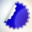 Blue round jagged sticker or label — Stock Photo