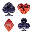 Red and dark blue diamond shaped card suits - ストック写真