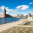 Постер, плакат: Stockholm city hall and quay in summer