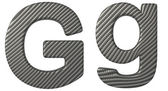 Carbon fiber font G lowercase and capital letters — Stock Photo