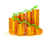 Earnings and success: green graph over coins stacks — Stock Photo