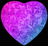 Gradient color diamond heart shape on black — Stock Photo