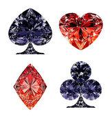 Kırmızı ve koyu mavi elmas şeklindeki kart takımlar — Stok fotoğraf