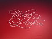 Con amor cosido palabras bordado rojo — Foto de Stock