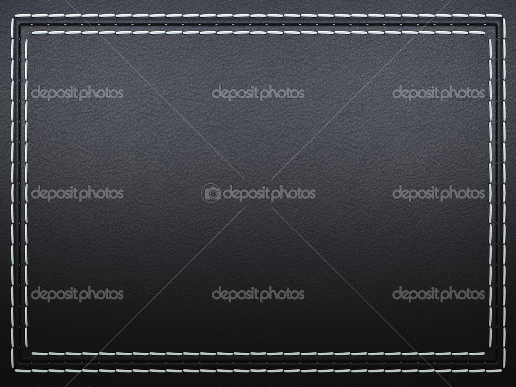 Stitched frame on black leather background. Large resolution — Stock Photo #5458826