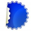 Blue round bent sticker or label — Stock Photo