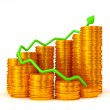 Profit: green graph over golden coins stacks — Stock Photo #5511717