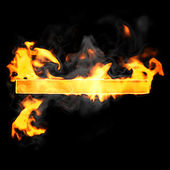 Burning and flame font hyphen symbol — Stock Photo