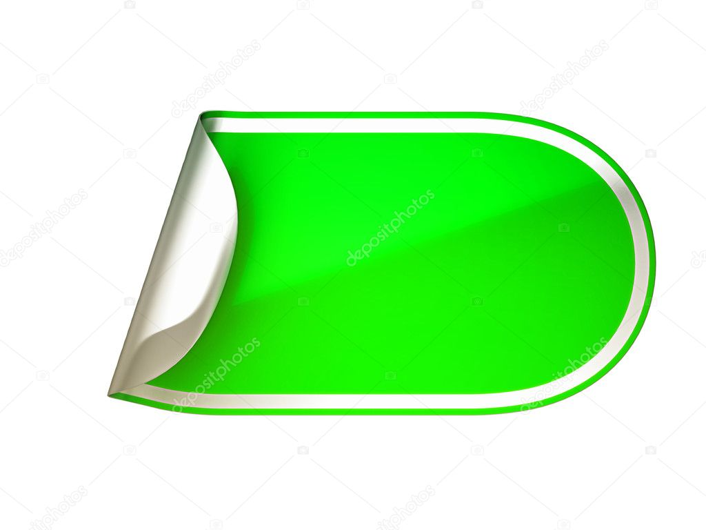Rounded green bent sticker or label over white background  Stock Photo #5511746