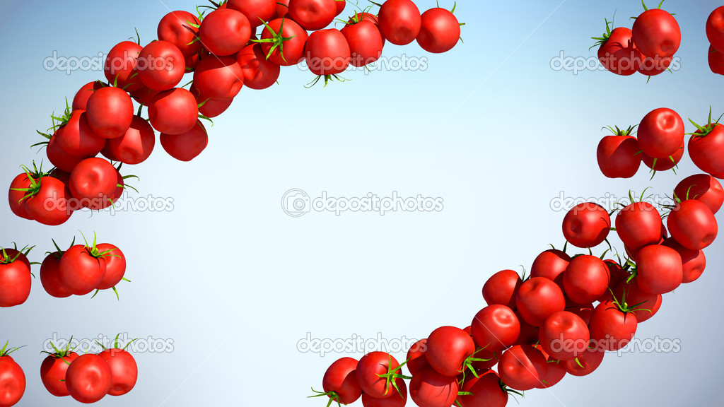 Two Tomatoe Cherry flows with space for text over colorful background — Stock Photo #5511891