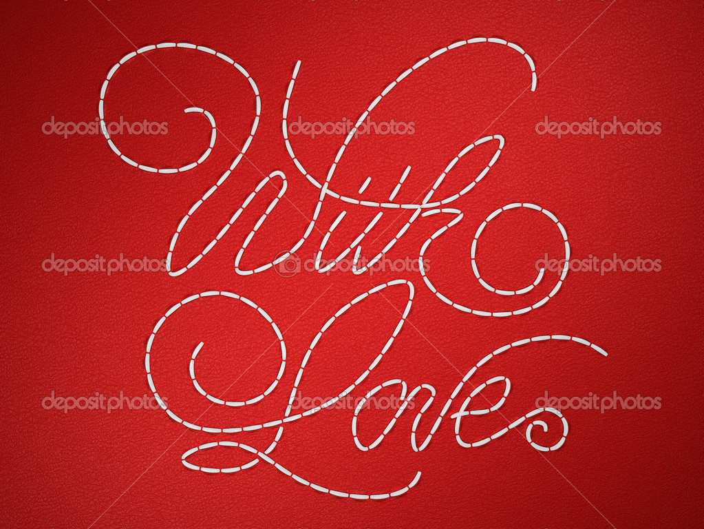 With love stitched embroidery words on red leather background — Stock Photo #5512011