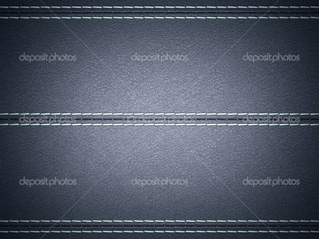 Dark Blue horizontal stitched leather background. Large resolution — Stock Photo #5512155