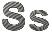 Carbon fiber font S lowercase and capital letters — Stock Photo