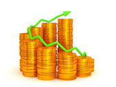 Growth and success: green graph over coins stacks — Stock Photo